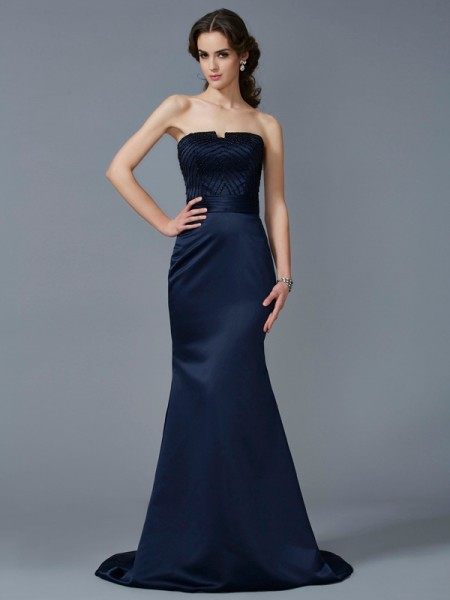 Stylish Trumpet/Mermaid Sleeveless Beading Strapless Long Satin Dresses
