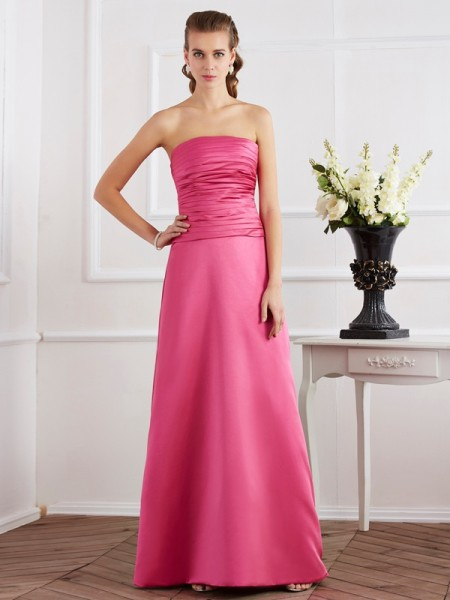 Fashion Sheath/Column Sleeveless Pleats Strapless Long Satin Dresses