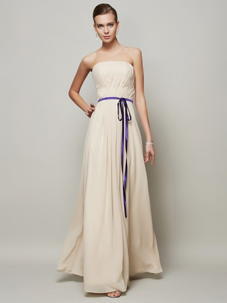 Stylish A-Line/Princess Sleeveless Sash/Ribbon/Belt Strapless Long Chiffon Dresses