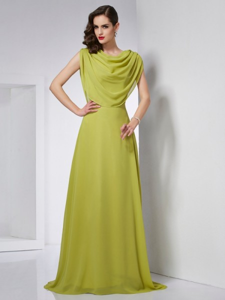 Fashion A-Line/Princess Sleeveless Pleats High Neck Long Chiffon Dresses