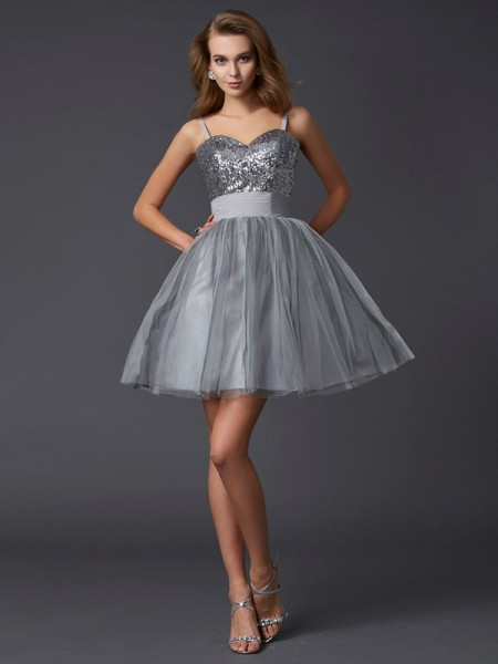 Stylish A-Line/Princess Straps Sleeveless Spaghetti Short Organza Homecoming Dresses