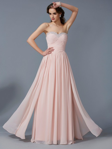 Fashion A-Line/Princess Sleeveless Pleats Sweetheart Long Chiffon Dresses