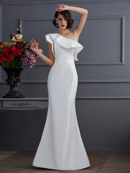 Stylish Trumpet/Mermaid Sleeveless Ruffles One-Shoulder Long Taffeta Dresses