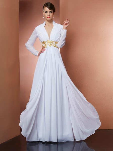 Fashion A-Line/Princess Long Sleeves Long V-neck Chiffon Dresses