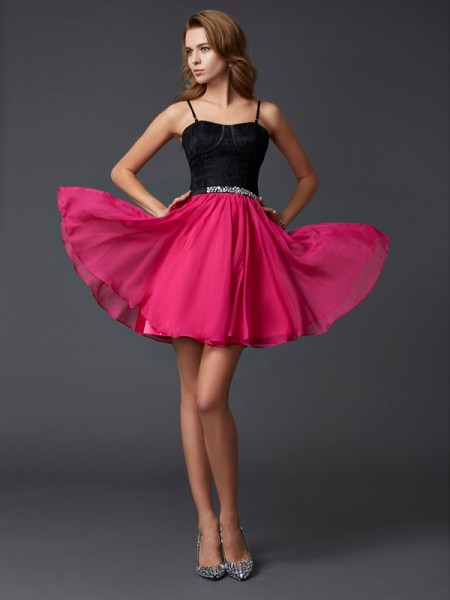Stylish A-Line/Princess Straps Sleeveless Spaghetti Short Chiffon Homecoming Dresses
