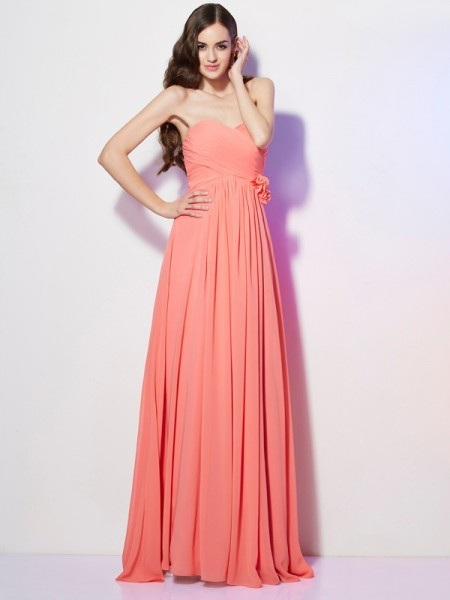 Stylish A-Line/Princess Sleeveless Hand-Made Sweetheart Flower Long Chiffon Dresses