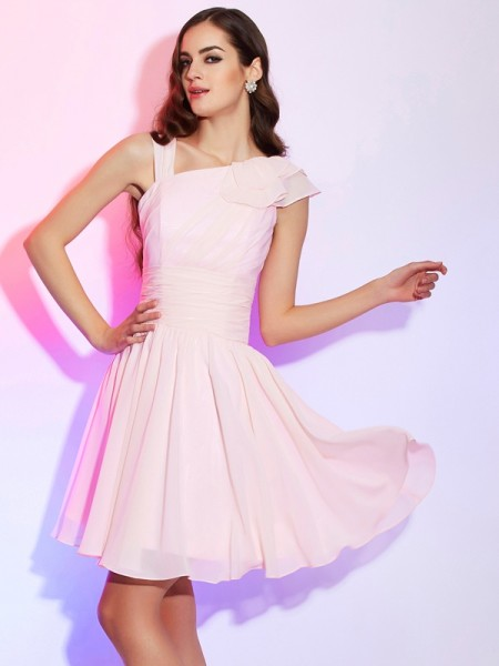 Fashion A-Line/Princess Pleats Short Sleeveless Chiffon Homecoming Dresses