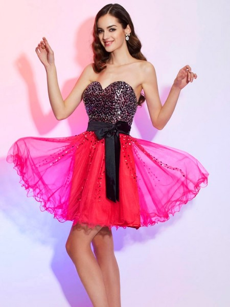 Fashion A-Line/Princess Sleeveless Sash/Ribbon/Belt Sweetheart Short Organza Homecoming Dresses