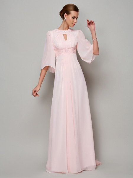 Stylish A-Line/Princess 1/2 Sleeves Beading High Neck Long Chiffon Mother of the Bride Dresses