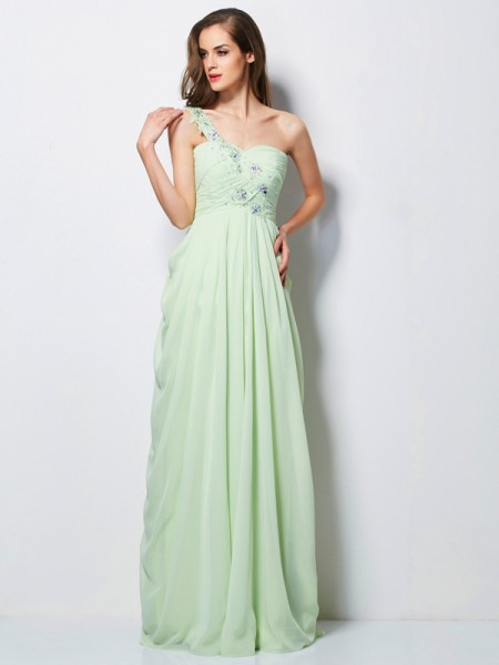 Fashion A-Line/Princess Sleeveless Applique One-Shoulder Long Chiffon Dresses