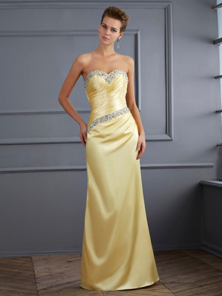Stylish Trumpet/Mermaid Sleeveless Beading Sweetheart Long Elastic Woven Satin Dresses