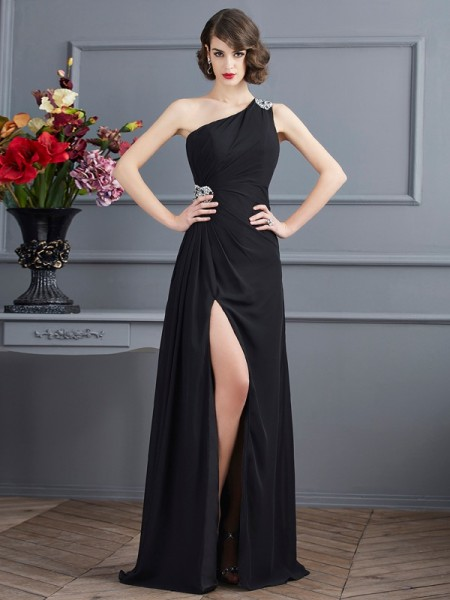 Fashion Sheath/Column Sleeveless Beading One-Shoulder Long Chiffon Dresses