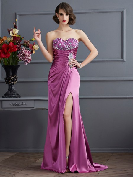 Stylish Sheath/Column Sleeveless Beading Sweetheart Long Elastic Woven Satin Dresses