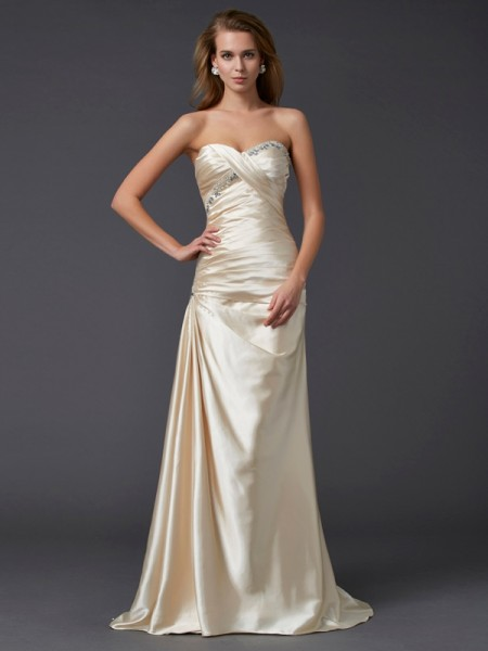 Fashion Sheath/Column Sleeveless Beading Sweetheart Long Elastic Woven Satin Dresses