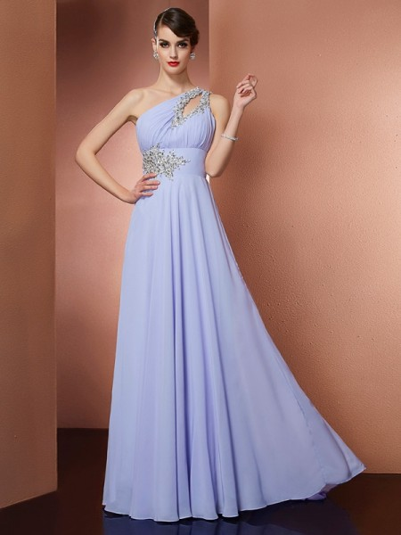 Stylish A-Line/Princess Sleeveless Applique One-Shoulder Beading Long Chiffon Dresses