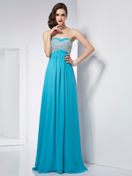 Fashion A-Line/Princess Sleeveless Long Sweetheart Chiffon Dresses