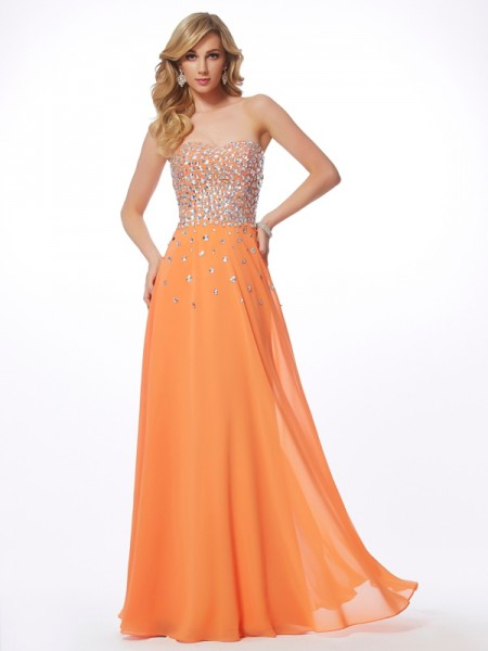 Stylish A-Line/Princess Sleeveless Rhinestone Sweetheart Long Chiffon Dresses