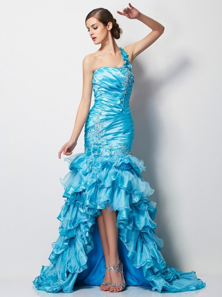 Stylish Trumpet/Mermaid Sleeveless Beading One-Shoulder High Low Taffeta Dresses