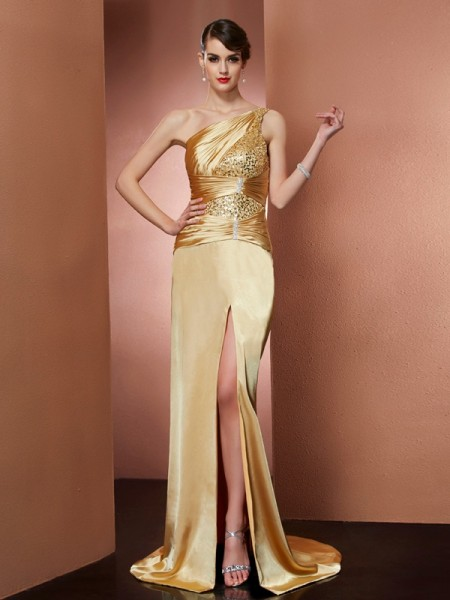 Fashion Sheath/Column Sleeveless Beading One-Shoulder Long Elastic Woven Satin Dresses