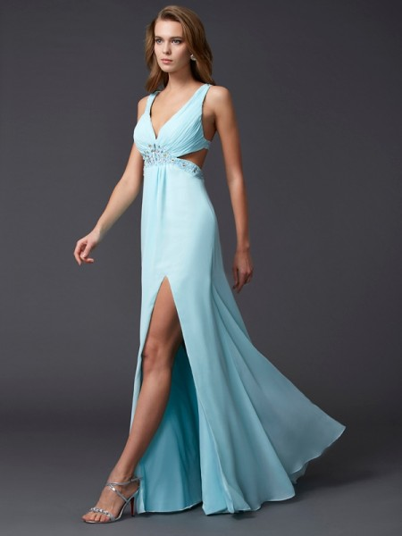 Stylish Sheath/Column Sleeveless Beading V-neck Long Chiffon Dresses