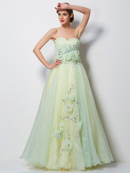 Fashion A-Line/Princess Sleeveless Hand-Made Sweetheart Flower Long Satin Dresses