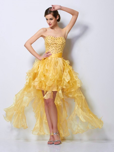 Fashion A-Line/Princess Sleeveless Beading Sweetheart High Low Tulle Homecoming Dresses