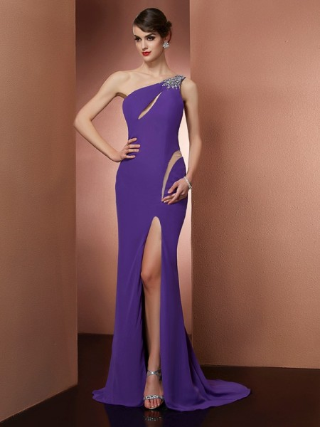 Stylish A-Line/Princess Sleeveless Beading One-Shoulder Long Chiffon Dresses