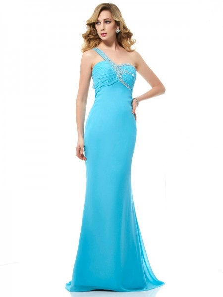 Stylish Trumpet/Mermaid Sleeveless Beading One-Shoulder Long Chiffon Dresses