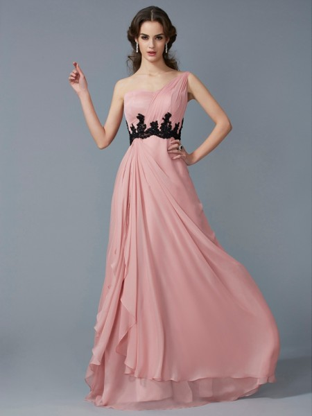 Stylish A-Line/Princess Sleeveless Beading One-Shoulder Long Applique Chiffon Dresses