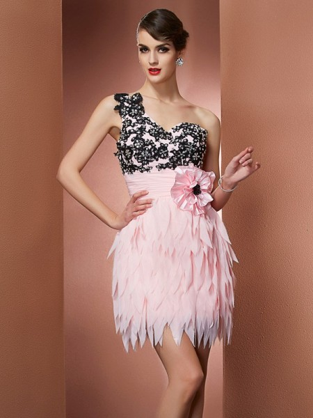 Stylish A-Line/Princess Sleeveless Hand-Made One-Shoulder Flower Short Chiffon Homecoming Dresses