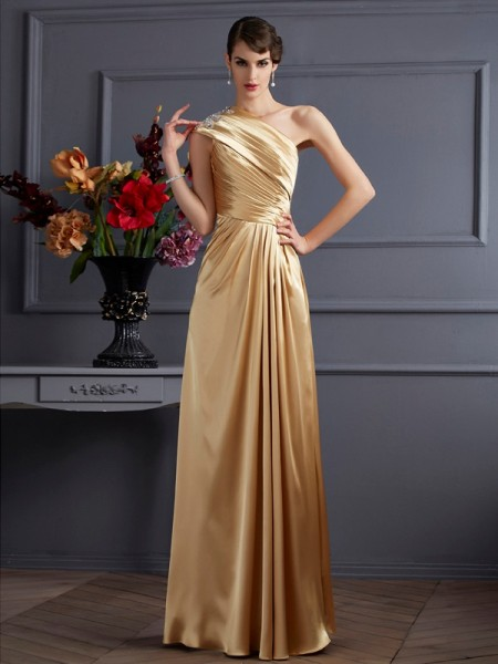 Fashion A-Line/Princess Sleeveless Beading One-Shoulder Long Elastic Woven Satin Dresses