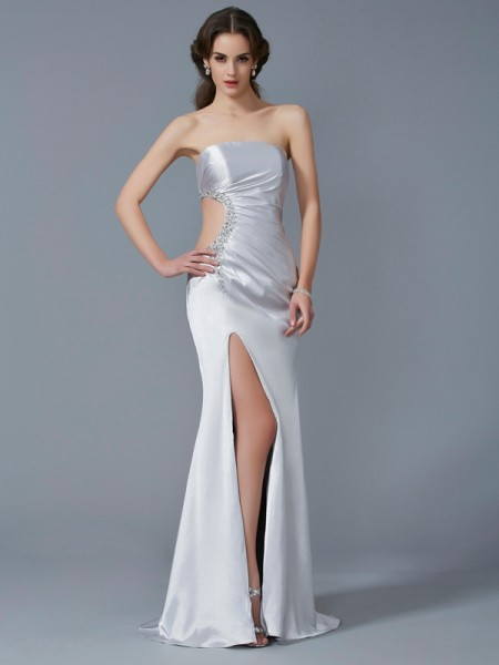 Fashion Trumpet/Mermaid Sleeveless Beading Strapless Long Elastic Woven Satin Dresses