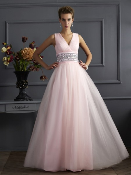 Stylish Ball Gown Sleeveless Beading V-neck Long Net Dresses