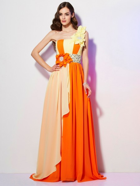 Fashion A-Line/Princess Sleeveless Beading One-Shoulder Long Chiffon Dresses