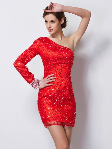 Fashion Sheath/Column Long Sleeves Beading One-Shoulder Short Elastic Woven Satin Homecoming Dresses