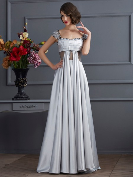 Fashion A-Line/Princess the Shoulder Off Sleeveless Pleats Long Elastic Woven