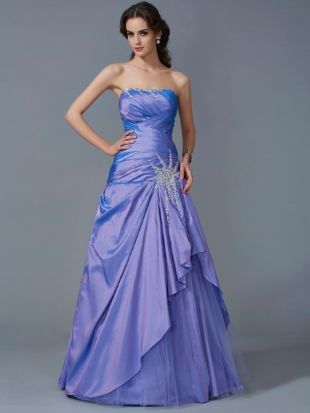 Stylish Ball Gown Sleeveless Beading Strapless Long Taffeta Quinceanera Dresses
