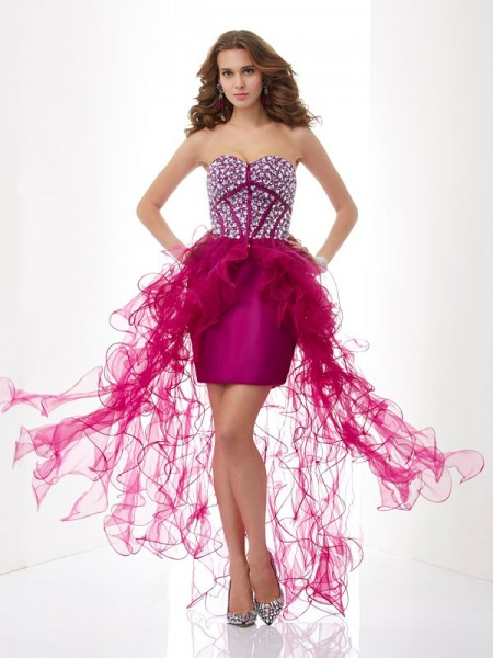 Fashion Sheath/Column Sleeveless Beading Sweetheart Short Elastic Woven Satin Homecoming Dresses