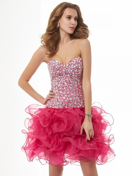 Stylish Sheath/Column Sleeveless Beading Sweetheart Short Organza Homecoming Dresses