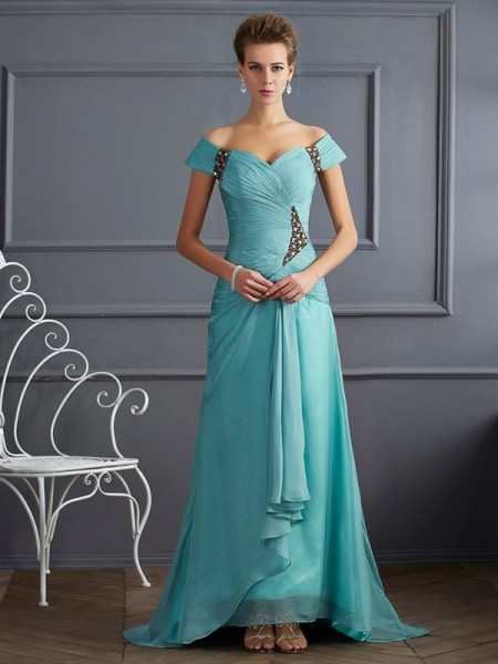 Fashion A-Line/Princess the Shoulder Off Sleeveless Beading Long Chiffon Dresses
