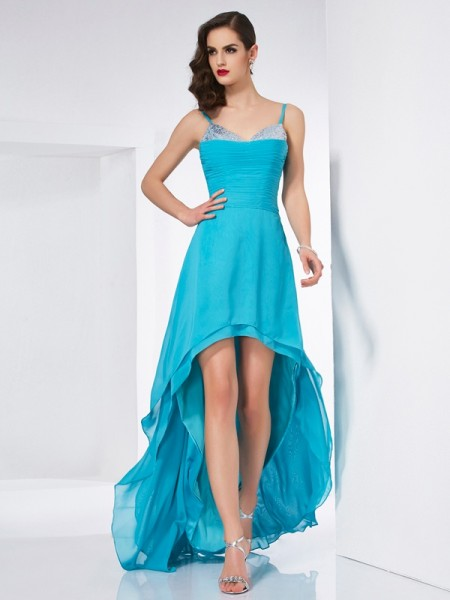 Stylish A-Line/Princess Straps Sleeveless Spaghetti High Low Chiffon Dresses