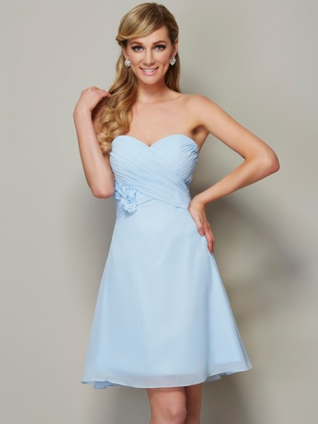 Fashion A-Line/Princess Sleeveless Hand-Made Sweetheart Flower Short Chiffon Homecoming Dresses