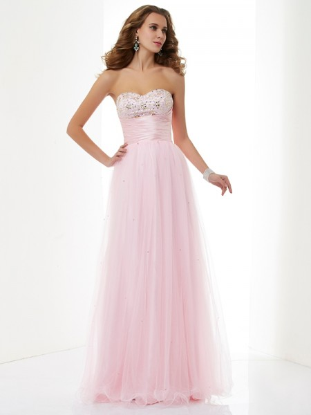 Stylish A-Line/Princess Sleeveless Beading Sweetheart Long Elastic Woven Satin Dresses
