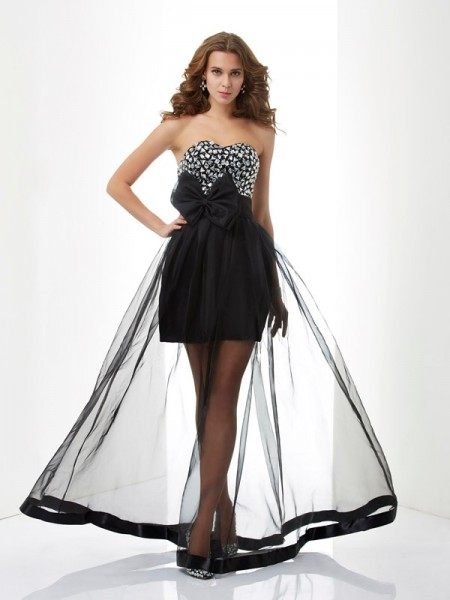 Fashion A-Line/Princess Sleeveless Beading Sweetheart Long Organza Dresses