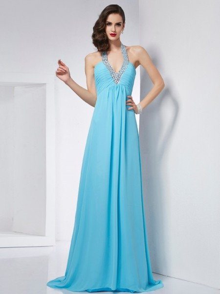 Fashion A-Line/Princess Sleeveless Long Halter Chiffon Dresses