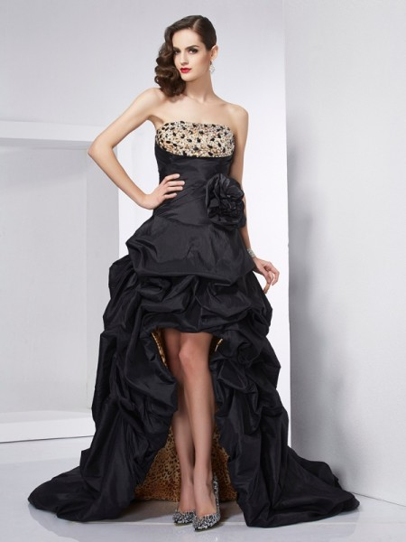 Stylish A-Line/Princess Sleeveless Beading Strapless High Low Taffeta Dresses