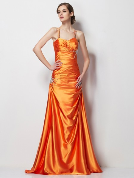 Stylish A-Line/Princess Straps Sleeveless Spaghetti Beading Long Elastic Woven Satin