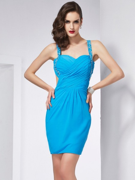 Fashion Sheath/Column Straps Sleeveless Spaghetti Beading Short Chiffon Homecoming Dresses