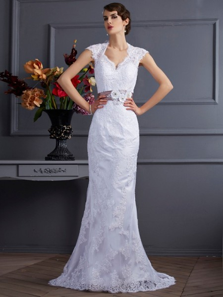 Fashion Trumpet/Mermaid Applique Long Sleeveless Satin Wedding Dresses