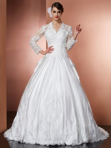 Stylish A-Line/Princess Long Sleeves Applique V-neck Long Satin Wedding Dresses